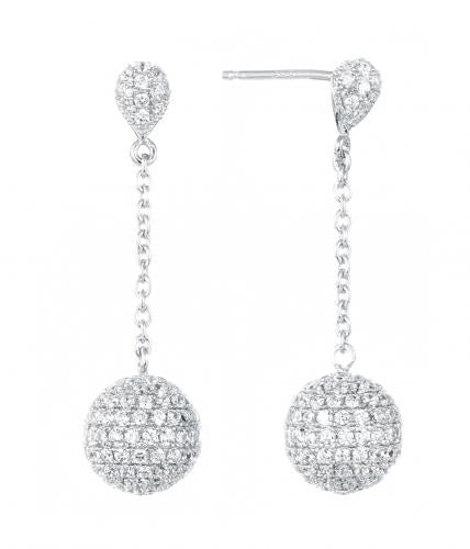 Rhodium CZ Long Ball 925 Sterling Silver Earring FE08406A