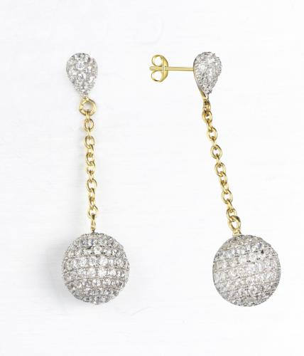 Yellow Gold CZ Long Ball 925 Sterling Silver Earring FE08406C