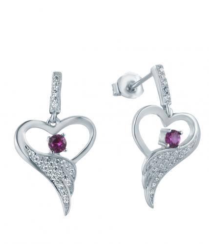 Rhodium Ruby Stud Heart 925 Silver Jewelry Earring FE12302B