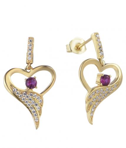 Yellow Gold Ruby Stud Heart 925 Silver Jewelry Earring FE12302D