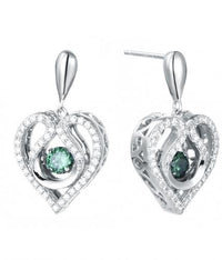 Rhodium Emerald Drop Heart Dancing 925 Sterling Silver FE12403A