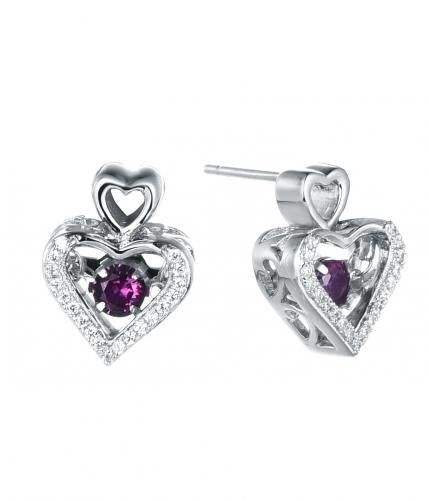 Rhodium Ruby Stud Heart Dancing 925 Sterling Silver FE12503A