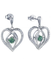 Rhodium Emerald Drop Heart Dancing 925 Sterling Silver FE12504A
