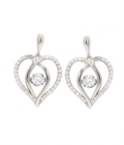 Rhodium CZ Drop Heart Dancing 925 Sterling Silver FE12504C