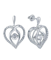 Rhodium CZ Drop Heart Dancing 925 Sterling Silver FE12504D