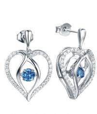 Rhodium Sapphire Drop Heart Dancing 925 Sterling Silver FE12504I