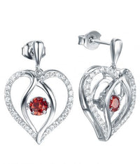 Rhodium Ruby Drop Heart Dancing 925 Sterling Silver FE12504J