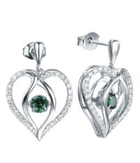 Rhodium Emerald Drop Heart Dancing 925 Sterling Silver FE12504K