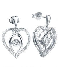 Rhodium CZ Drop Heart Dancing 925 Sterling Silver FE12504L