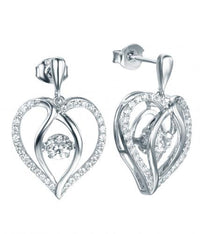 Rhodium Topaz Drop Heart Dancing 925 Sterling Silver FE12504M