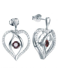 Rhodium Garnet Drop Heart Dancing 925 Sterling Silver FE12504O
