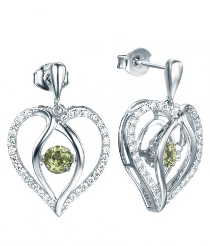 Rhodium Peridot Drop Heart Dancing 925 Sterling Silver Earring FE12504P