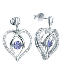Rhodium Tanzanite Drop Heart Dancing 925 Sterling Silver Earring FE12504Q