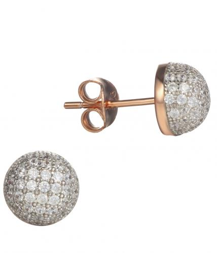 Rose Gold CZ Stud Ball 925 Sterling Silver Earring FE13105D