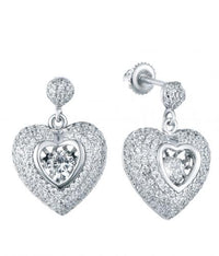 Rhodium CZ Drop Heart Dancing 925 Sterling Silver Earring FE13308F