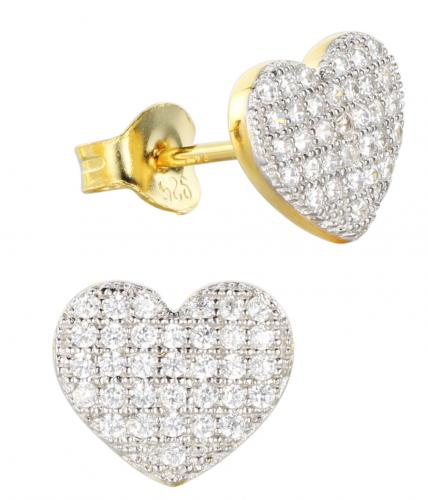 Yellow Gold CZ Stud Heart 925 Silver Jewelry Earring FE13603F
