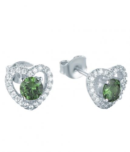 Rhodium Emerald Stud Heart 925 Sterling Silver Earring FE13800D