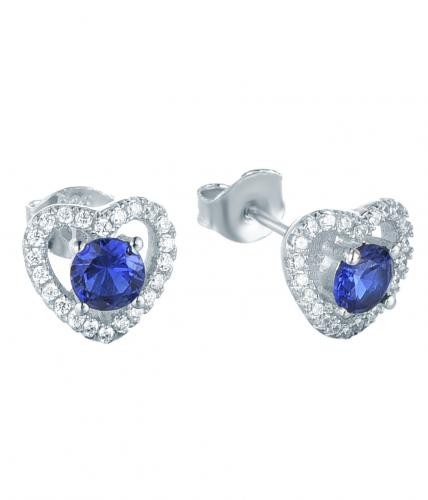 Rhodium Spinel Stud Heart 925 Sterling Silver Earring FE13800E