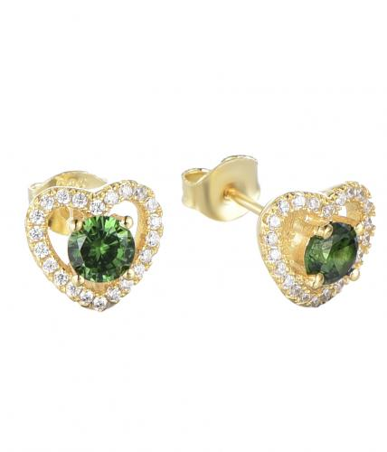 Yellow Gold Emerald Stud Heart 925 Sterling Silver Earring FE13800H