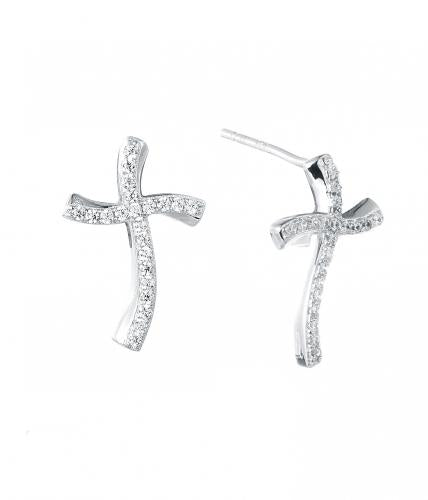Rhodium CZ Stud Cross 925 Sterling Silver Earring FE14501A