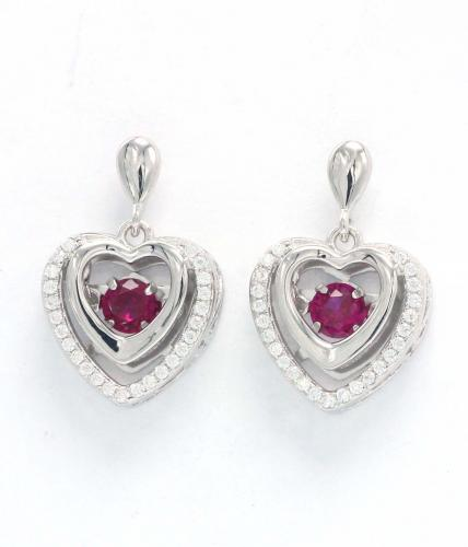Rhodium Ruby Stud Heart Dancing 925 Silver Jewelry Earring FE14506D