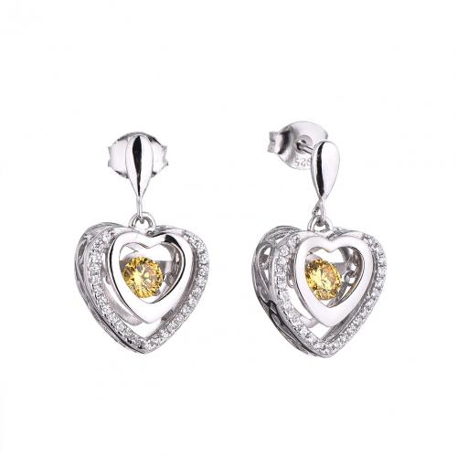 Rhodium Citrine Stud Heart Dancing 925 Silver Jewelry Earring FE14506M