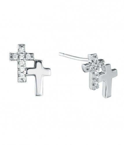 Rhodium CZ Stud Cross 925 Sterling Silver Earring FE15600A