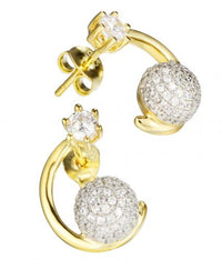 Yellow Gold CZ Stud Ball 925 Sterling Silver Earring FE15809G