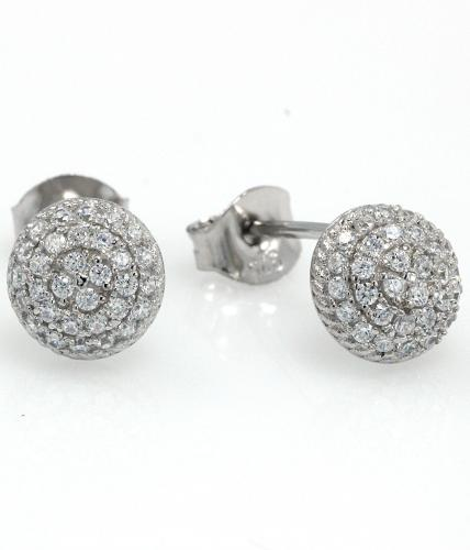 Rhodium CZ Stud Ball 925 Sterling Silver Earring FE16303A
