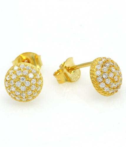 Yellow Gold CZ Stud Ball 925 Sterling Silver Earring FE16303B