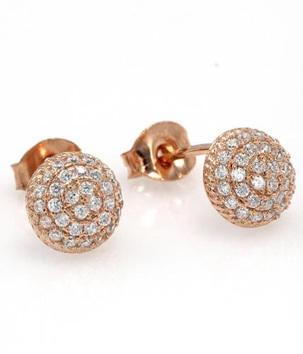 Rose Gold CZ Stud Ball 925 Sterling Silver Earring FE16303C