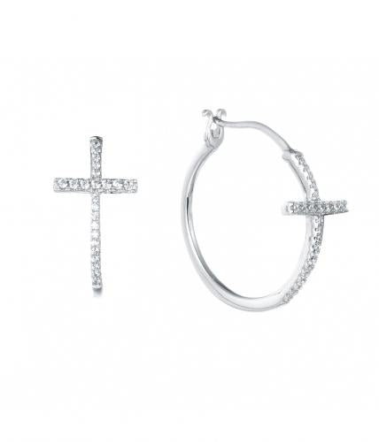 Rhodium CZ Hoop Cross 925 Sterling Silver Earring FE16600A