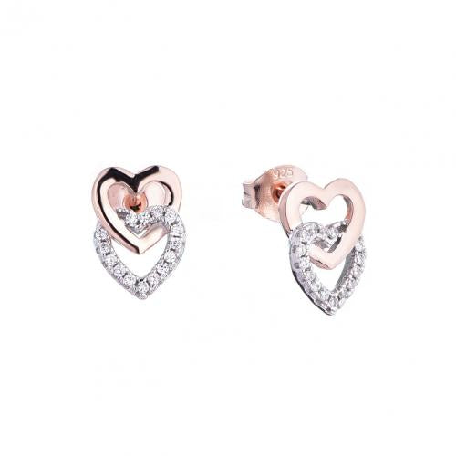 Rose Gold CZ Stud Heart 925 Silver Jewelry Earring FE16707B