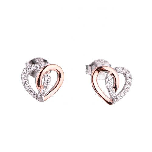 Rose Gold CZ Stud Heart 925 Silver Jewelry Earring FE16904D