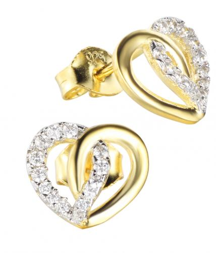 Yellow Gold CZ Stud Heart 925 Silver Jewelry Earring FE16904E