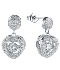 Rhodium CZ Drop Heart Dancing 925 Sterling Silver Earring FE23301A