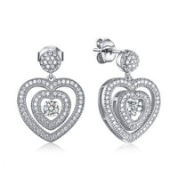 Rhodium CZ Drop Heart Dancing 925 Sterling Silver Earring FE23306A