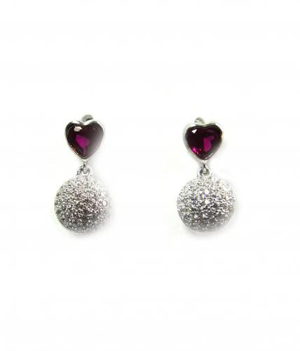 Rhodium Ruby Stud Ball 925 Sterling Silver Earring FE24306A