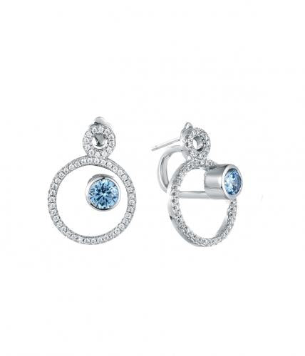 Rhodium Sapphire Jackets Circle 925 Sterling Silver FE24902A