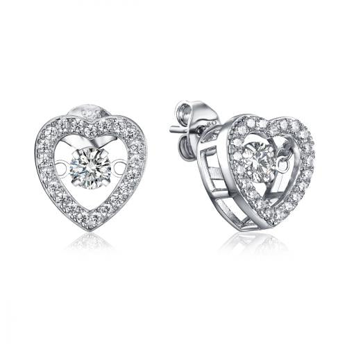 Rhodium CZ Stud Heart Dancing 925 Silver Jewelry Earring FE25505A