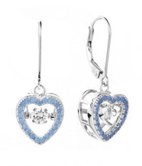 Rhodium CZ Drop Heart Dancing 925 Silver Jewelry Earring FE25505D