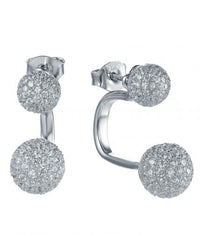 Rhodium CZ Stud Ball 925 Sterling Silver Earring FE25507A