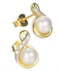 Yellow Gold Pearl Stud Infinity 925 Sterling Silver Earring FE27104B