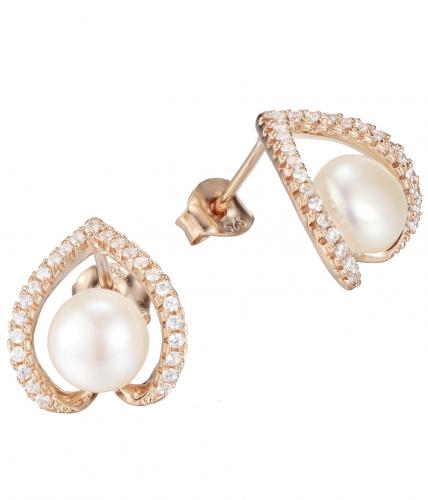 Rose Gold Pearl Stud Heart 925 Sterling Silver Earring FE27307D