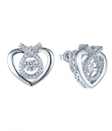 Rhodium CZ Stud Heart Dancing 925 Silver Jewelry Earring FE27708A