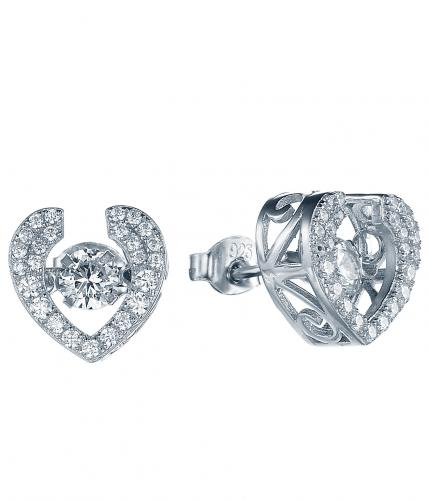 Rhodium CZ Stud Heart Dancing 925 Silver Jewelry Earring FE28006A