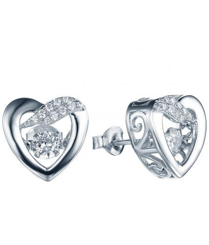 Rhodium CZ Stud Heart Dancing 925 Silver Jewelry Earring FE28008A