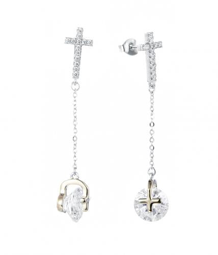 Yellow Gold CZ Long Cross 925 Sterling Silver Earring FE29709A
