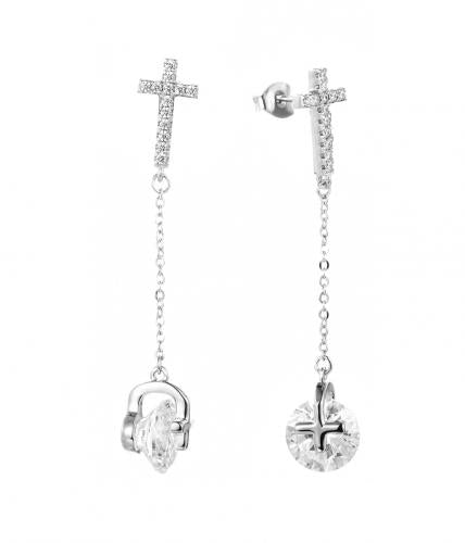 Rhodium CZ Long Cross 925 Sterling Silver Earring FE29709C
