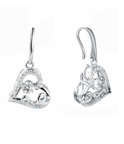 Rhodium CZ Drop Heart Dancing 925 Silver Jewelry Earring FE36601A
